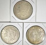 2-1921 & 1921-D MORGAN DOLLARS, VF