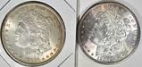 1885 & 1896 TONED MORGAN DOLLARS, AU