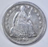 1849 SEATED LIBERTY HALF DIME  AU/BU