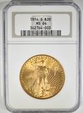 1914-S $20 GOLD SAINT GAUDENS NGC MS-64