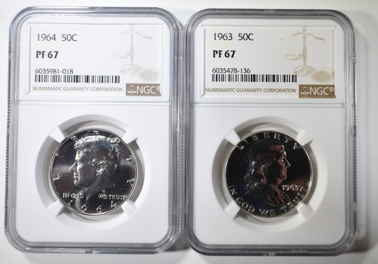 1963 FRANKLIN & 1964 KENNEDY HALVES NGC MS-67
