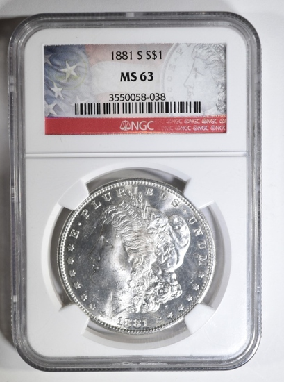 1881-S MORGAN DOLLAR NGC MS-63