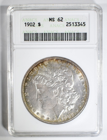 1902 MORGAN DOLLAR ANACS MS-62