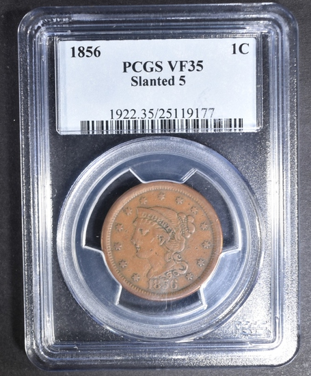 1856 LARGE CENT PCGS VF-35