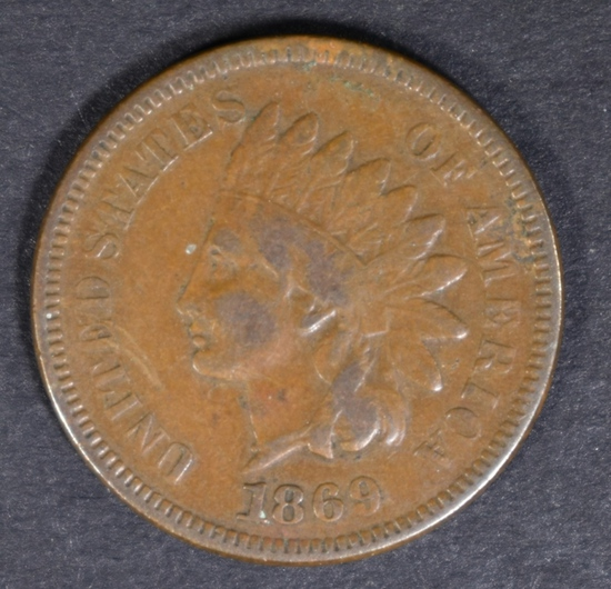1869 INDIAN CENT FINE