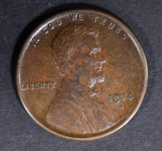 1914-S LINCOLN CENT CH AU