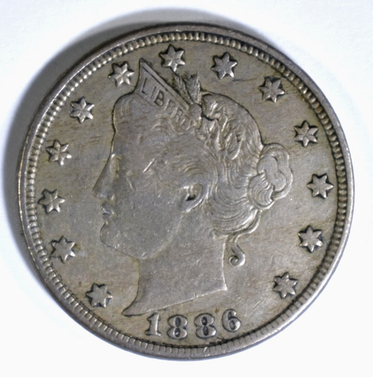 "1886 LIBERTY ""V"" NICKEL, XF"