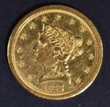 1843-O $2.5 GOLD LIBERTY SM DATE VERY CH BU