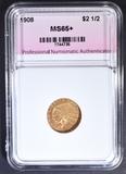 1908 $2.5 GOLD INDIAN  PNA GEM BU+