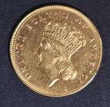 1869 $3 GOLD INDIAN PRINCESS  VERY CH BU