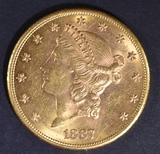 1887-S $20 GOLD LIBERTY  CH BU  VERY SCARCE DATE
