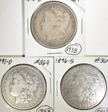 1890-O, 91-O & 96-S MORGAN DOLLARS