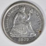 1862 SEATED HALF DIME  BU