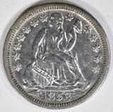 1853 ARROWS SEATED LIBERTY DIME  BU