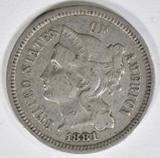 1881 3-CENT NICKEL  AU