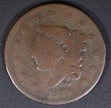 1839/6 LARGE CENT VG