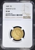 1849 $5 GOLD LIBERTY NGC XF-40 MOFFAT & CO.