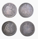 4 SEATED LIBERTY DIMES MOSTLY VG-F
