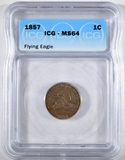 1857 FLYING EAGLE CENT  ICG MS-64