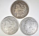 1890-O F & 2- 1894-O F CLEANED & VG MORGAN DOLLARS