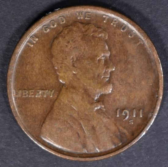 1911-S LINCOLN CENT AU