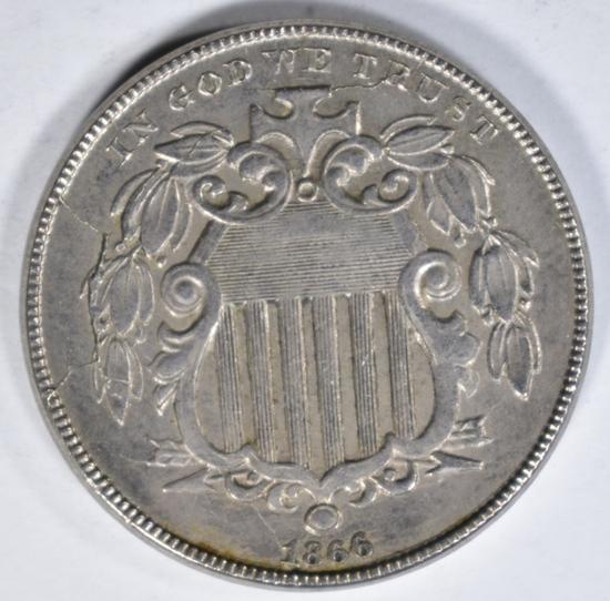 1866 SHIELD NICKEL AU