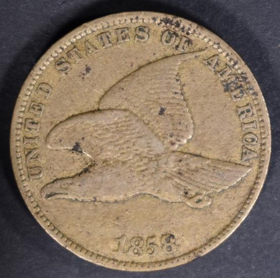 1858 FLYING EAGLE CENT VF+