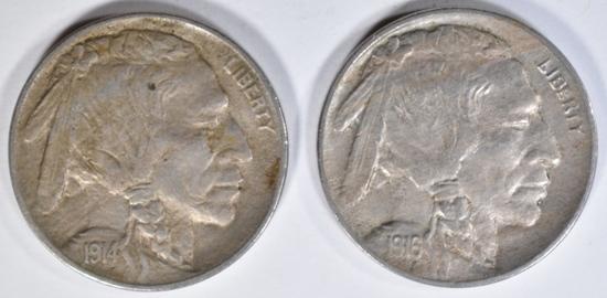 1914 & 1916 BUFFALO NICKELS AU