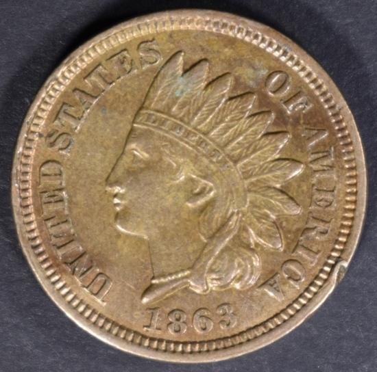 1863 INDIAN CENT CH AU RIM BUMP