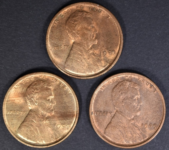 3-1909 LINCOLN CENTS CH/GEM BU RED