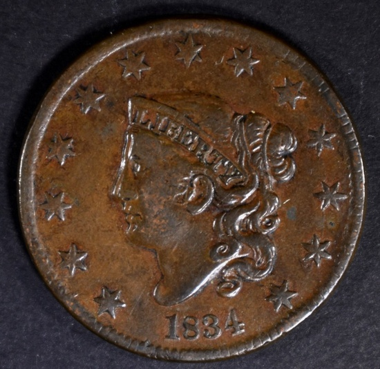 1834 LARGE CENT XF
