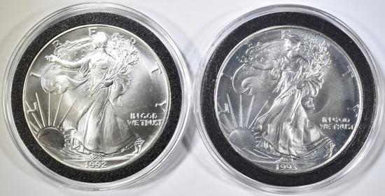 1992 & 93 BU AMERICAN SILVER EAGLES
