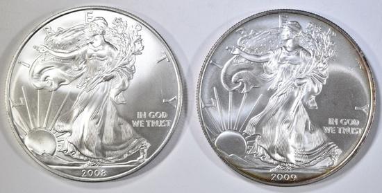 2008 & 2009 BU AMERICAN SILVER EAGLES