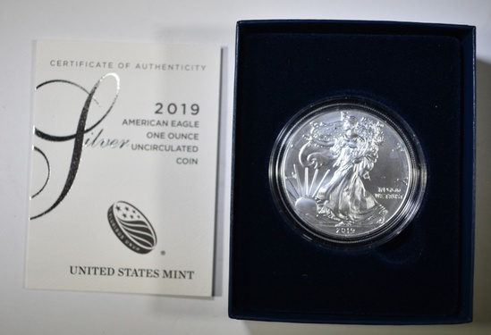 2019-W BURNISHED SILVER EAGLE ORIG BOX/COA