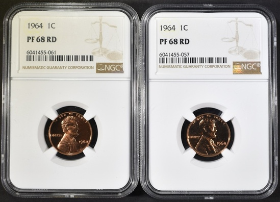 2-1964 LINCOLN CENTS NGC PF-68 RED