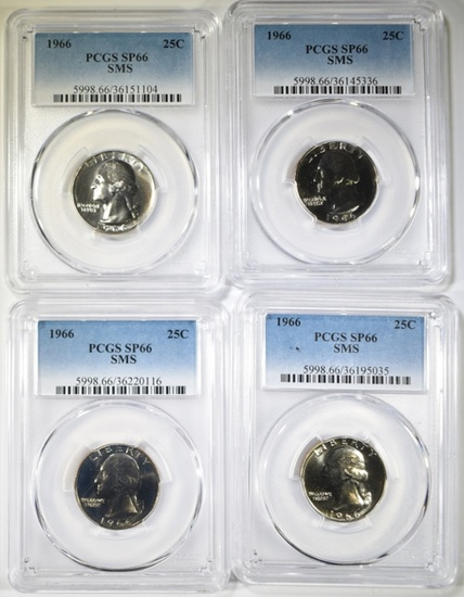 4-1966 SMS WASHINGTON QUARTERS PCGS SP-66
