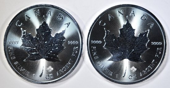 2-2021 GEM BU CANADIAN SILVER MAPLE LEAF COINS