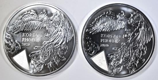 2-2020 1oz SILVER KOREAN PHEONIX COINS