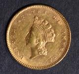 1854 TYPE 2 GOLD DOLLAR  NICE BU