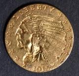 1915 $2.5 GOLD INDIAN  CH BU