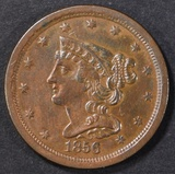 1856 HALF CENT  BU  LIGHT OLD CLEANING