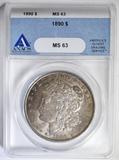 1890 MORGAN DOLLAR  ANACS MS-63