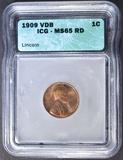 1909 VDB LINCOLN CENT ICG MS-65 RD
