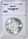 1885-S MORGAN DOLLAR RNG CH/GEM BU+ BLAST WHITE