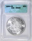 1890-CC MORGAN DOLLAR ICG MS-65 BLAST WHITE