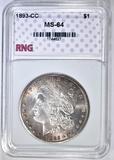 1893-CC MORGAN DOLLAR RNG CH/GEM BU