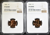 1962 & 63 LINCOLN CENTS NGC PF-68 RED