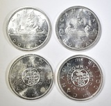 2-1964 & 2-1965 CANADIAN SILVER DOLLARS