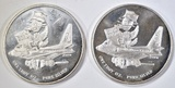 2-CRABTREE MINT ONE OUNCE .999 SILVER ROUNDS