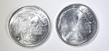 2-INDIAN/BUFFALO ONE OUNCE .999 SILVER ROUNDS